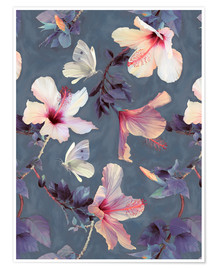 Poster  Butterflies and Hibiscus Flowers - a painted pattern - Micklyn Le Feuvre