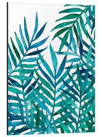 Alu-Dibond  Watercolor Palm Leaves on White - Micklyn Le Feuvre