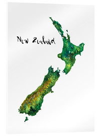 Verre acrylique  Map of New Zealand in Watercolour - Ricardo Bouman