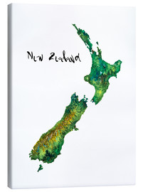 Toile  Map of New Zealand in Watercolour - Ricardo Bouman