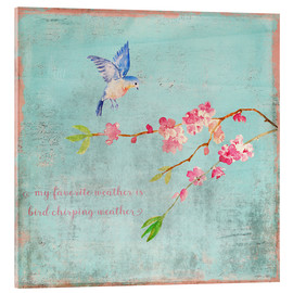 Verre acrylique  Bird chirping waether Spring and cherryblossoms - UtArt