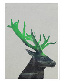 Poster  Deer In The Aurora Borealis - Andreas Lie