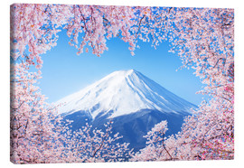 Tableau sur toile  Mount Fuji in Japan during the cherry blossom in spring - Jan Christopher Becke