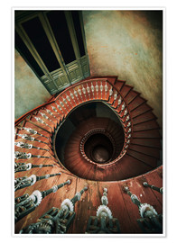 Poster Spiral wooden stairs