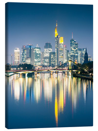 Tableau sur toile  Frankfurt skyline reflected in river Main at night, Germany - Matteo Colombo