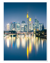 Poster  Frankfurt skyline reflected in river Main at night, Germany - Matteo Colombo