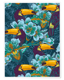 Poster  Tropical flowers with toucan
