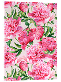 Verre acrylique  Pink peonies in watercolor