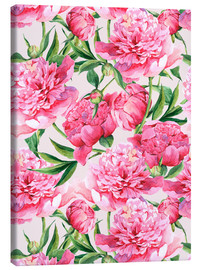 Toile  Pink peonies in watercolor