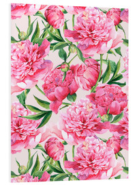 Pink peonies in watercolor