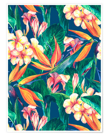 Poster  Exotic Flowers in Watercolor