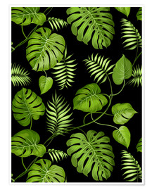 Poster  Monstera with palms