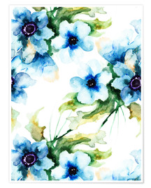 Poster  Summer flowers in blue