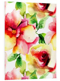 Forex  Watercolor painting with Rose flowers