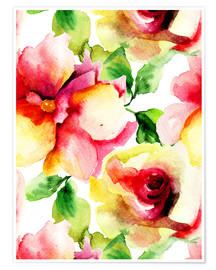Poster  Watercolor painting with Rose flowers