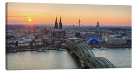 Tableau sur toile  Panorama view of Cologne at sunset - Michael Valjak