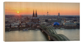 Tableau en bois  Panorama view of Cologne at sunset - Michael Valjak