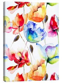 Toile  Poppies and tulips in watercolor