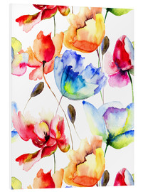 Forex  Poppies and tulips in watercolor