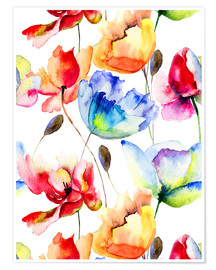 Poster  Poppies and tulips in watercolor
