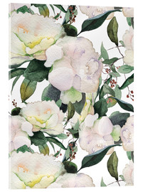 Verre acrylique  White Peony in watercolor