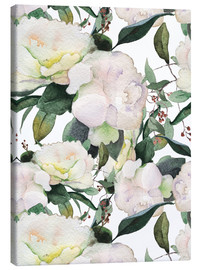 Toile  White Peony in watercolor