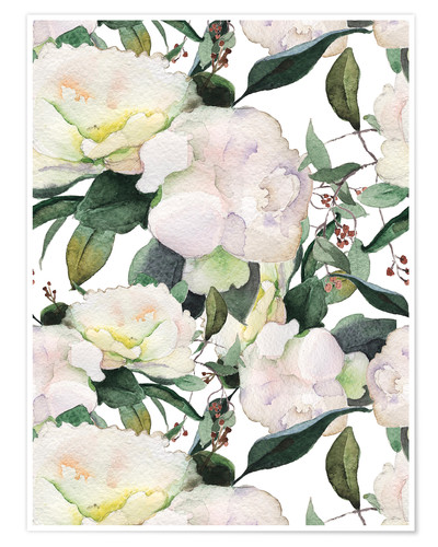 Poster Pivoines blanches