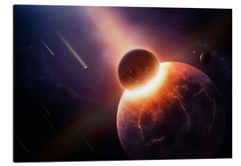 Tableau en aluminium  Planet earth destroyed in collision with asteroid - Johan Swanepoel