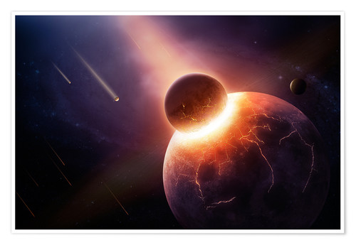 Poster Planet earth destroyed in collision with asteroid