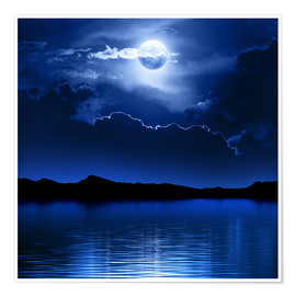 Poster  Fantasy moon and clouds over water - Johan Swanepoel