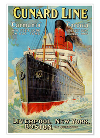 Poster  Cunard Line - Liverpool, New York, Boston - Edward Wright