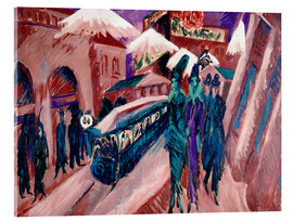 Tableau en verre acrylique  Leipziger Strasse with electric train - Ernst Ludwig Kirchner