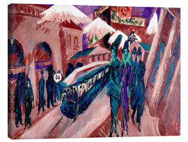 Tableau sur toile  Leipziger Strasse with electric train - Ernst Ludwig Kirchner