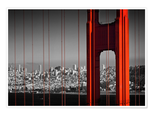 Poster Le pont du Golden Gate en détail