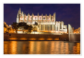Poster  Cathedral of Palma de Mallorca at night - Christian Müringer