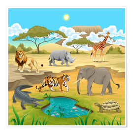 Poster  Animaux africains dans la savane - Kidz Collection