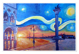 Poster Starry Night in Venice Italy San Marco with Lion