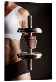 Verre acrylique  Sportswoman with dumbbell