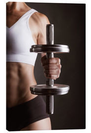 Toile  Sportswoman with dumbbell