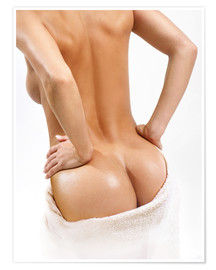 Poster  Female back with a towel
