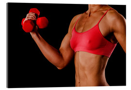 Verre acrylique  Fitness woman with dumbbells