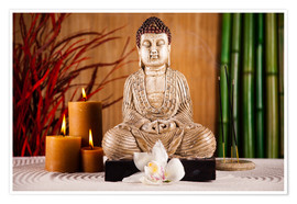 Poster  Buddha with candle