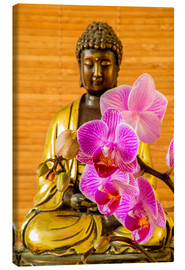 Toile  Buddha with orchid