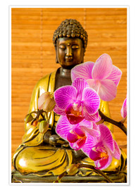 Poster  Buddha with orchid