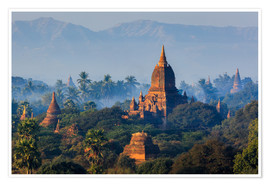 Poster  Temples of Bagan at sunrise