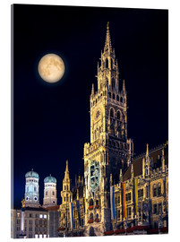 Verre acrylique  Night scene from Munich Town Hall