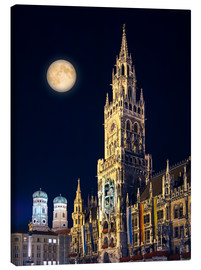 Tableau sur toile  Night scene from Munich Town Hall