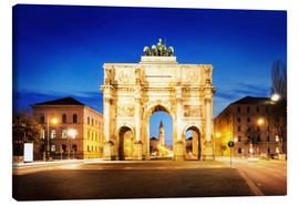 Tableau sur toile  Victory Arch in Munich at night