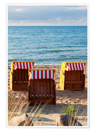 Three beach chairs at the baltic sea