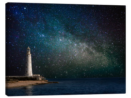 Toile  Lighthouse in starlight